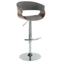 LumiSource Vintage Mod Adj. Barstool with Swivel, Walnut and Light Gray
