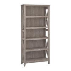 Bush Furniture Key West 5 Shelf Bookcase in Washed Gray