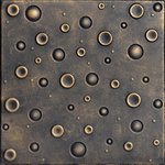 """Decorative Ceiling Tiles - Bubbles, Styrofoam Ceiling Tile, 20""""x20"""", #R07, Black Brass - Goes Over Popcorn And Most Ceiling Surfaces, Styrofoam, 20x20 (2.7 sqft), Adds Insulation, Easy Install, Light Weight, No Expensive Tools Needed, Paintable With Any Water-Based Paint"""