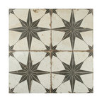 "17.63""x17.63"" Royals Estrella Ceramic Floor and Wall Tile, Set of 5, Nero"