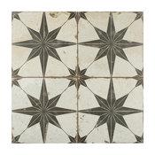 """17.63""""x17.63"""" Royals Estrella Ceramic Floor and Wall Tile, Set of 5, Nero"""