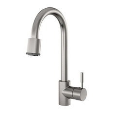 Azur Contemporary Brushed Nickel Pull-Down Spray Faucet, Solid Brass