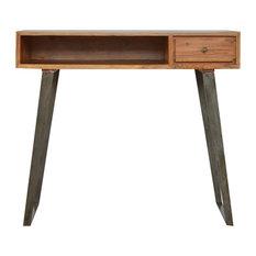 1-Drawer Chestnut Writing Desk, Caramel/Pewter Base, 90x45x80 cm
