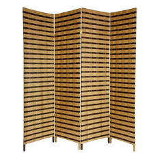 Tall Two Tone Natural Fiber Room Divider 4 Panel