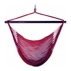 Hanging Caribbean Rope Chair, Burgundy