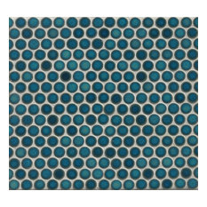 "3/4"" Penny Rounds Mosaic, 12""x12"" Sheet, Lagoon"