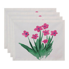 """18""""x14"""" Pretty Little Flower Placemats, Set of 4, Pink"""
