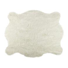 Faux Hide Rug/Throw, Off-White, 5'x7'