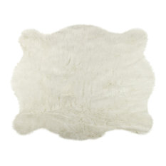 Mod Faux Sheepskin Rug White 5 X7 Novelty Rugs