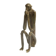 Old New House   Consigned, Large Monkey Hands Covering Mouth Vintage  African Bronze Sculpture