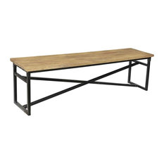 Webster Metal and Wood Dining Bench