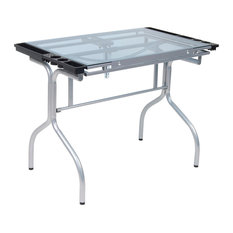 Studio Designs Artists Blue Tempered Glass Top Folding Craft Station, Silver