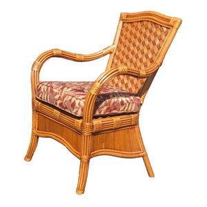 Kingston Reef Dining Chair In Cinnamon, Clemens Opal Fabric By Spice  Islands Wicker