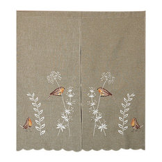 Pastoral Embroidery Cationic Door Curtain Kitchen Bedroom Bathroom Curtain Birds