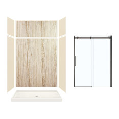 "Expressions Alcove Shower Kit With Extension and Door, Bisque/Sorento, 60""x32""x9"