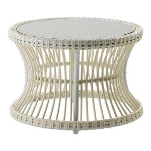 Round Rattan Coffee Table, White