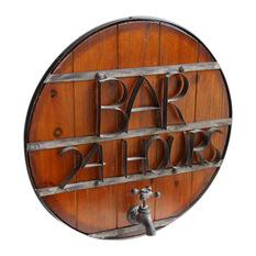welland round wood and metal wall mount bar sign game room and bar decor - Bar Decor