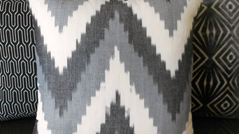 Gray chevron ikat pillows