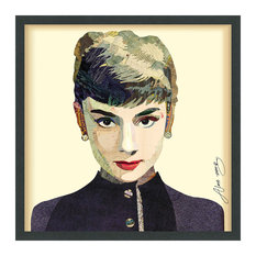 Audrey Handmade Collage Framed Graphic Wall Art Under Glass Signed by Alex Zeng