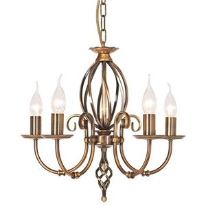 Traditional Aged Brass 5-Arm Chandelier With Knot Detail