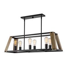 "Kira Home Parker 34""  Kitchen Island Light, Wood Style Panels + Black Finish"