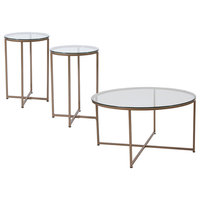 Greenwich Collection 3-Piece Coffee and End Table Set, Clear/Matte Gold
