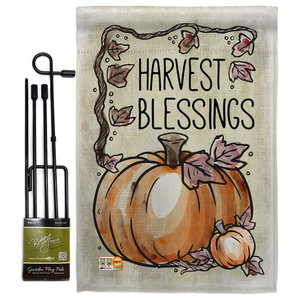 Happy Fall Fall Thanksgiving Garden Flag Set Modern Flags And Flagpoles By Breeze Decor Houzz