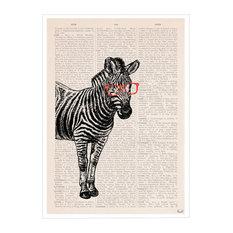 """Geeky Zebra"" Book Page, Print, 30x42 Cm"