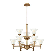 Hinkley Brushed Caramel and Etched White Glass 9-Light 2-Tier Chandelier