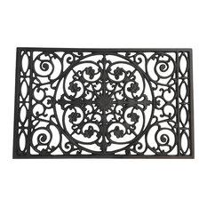 Powder Coated Cast Iron Doormat, Textured Black   Doormats