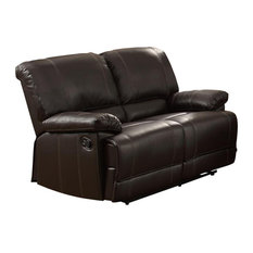 Lexicon Cassville Traditional Faux Leather Double Reclining Love Seat In Brown