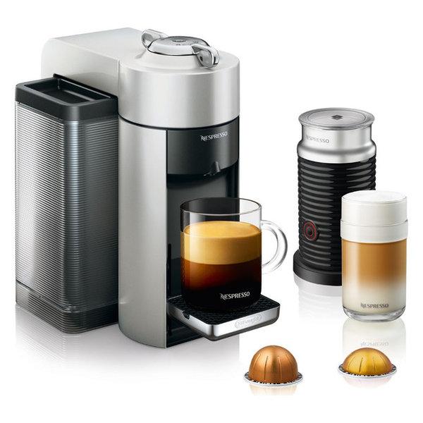 Delonghi Nespresso Vertuo Silver Coffee & Espresso Machine w/ Aeroccin