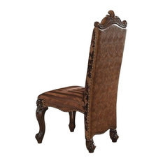 ACME Versailles Side Chair (Set-2), 2-Tone Brown PU and Fabric