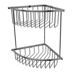 Essentials Medium Double Corner Wire Soap Basket, Satin Nickel