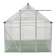 6'x6' Polycarbonate Walk-In Greenhouse, Galvanized Steel Base, Siding Door