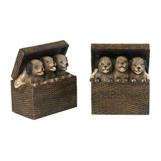 "Sterling Industries 14"" Decorative Pups In A Basket Bookend - (Set of 2)"