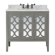 "Mediterraneo Collection 36"" Gray Vanity with Countertop"