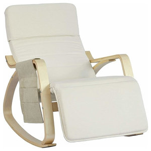 Contemporary Stylish Rocking Chair, Birch Veneer Frame and Footrest, Cream