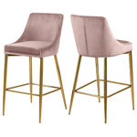 Meridian Furniture - Karina Velvet Stool, Set of 2, Pink, Gold Base - Yield to your contemporary side with this Karina Pink Velvet Stool. This modern stool is counter height, making it an ideal addition to a home bar or eat-in kitchen counter. The pink velvet upholstery brings a neutral element to your room, so it can easily meld with other furnishings. Plump seat and back cushions ensure that guests sit comfortably, whether they're enjoying a sudsy brew or a stack of pancakes. The polished gold metal frame is sturdy and stout, adding a durable slant to this lovely stool.