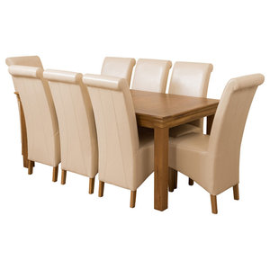 French Chateau Oak Dining Table With 8 Montana Chairs, Ivory Leather