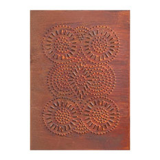 USA Handcrafted - Four Handcrafted Punched Tin Cabinet Panels Sturbridge Geometric, Rustic Tin - Kitchen Cabinetry