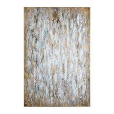 "Oversize 73"" Gold White Black Wall Art, Bold Modern Metallic Painting"