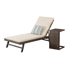 Westlyn Wicker Chaise Lounge with Wicker Side Table, Set of 2