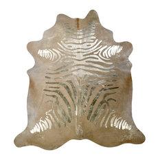 Devore, Zebra Rustic, Beige on Gold Cowhide, 6'x7.5'