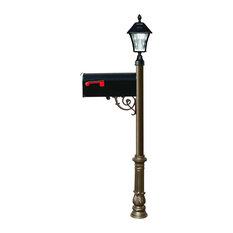 QualArc Lewiston Post W/Economy #1 Mailbox, Ornate Base and Solar Lamp, Bronze