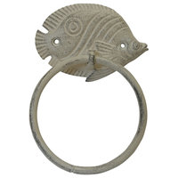 Aged White Cast Iron Butterfly Fish Towel Holder 7''