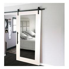 "Mirrored Sliding Barn Door With Mirror Insert + Hardware Kit, 36""x84"", 2 Mirrors"
