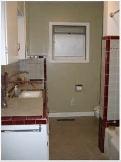 Vintage Maroon/Gray Tile Bathroom Decisions