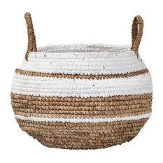 Woven Raffia Basket, Small, Natural/White