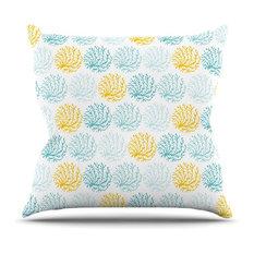 "Anchobee ""Coralina"" Teal Yellow Throw Pillow"